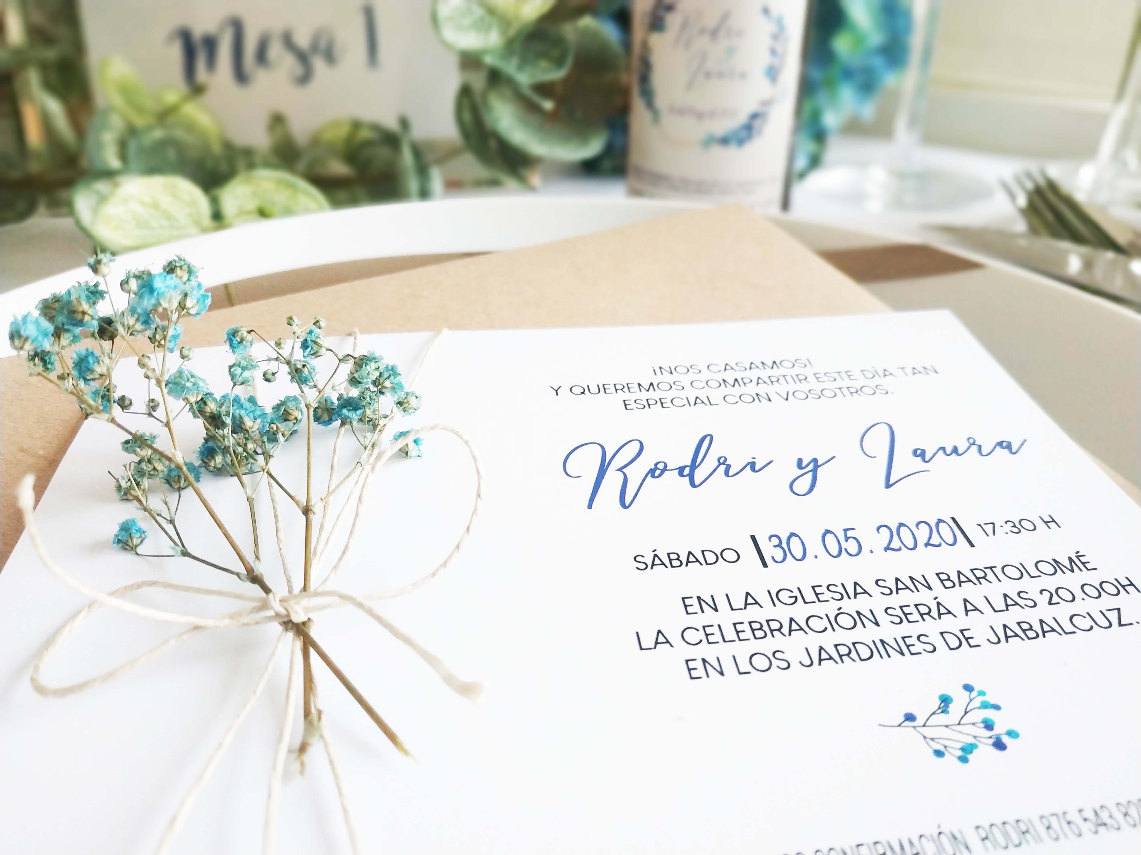 invitación flor preservada