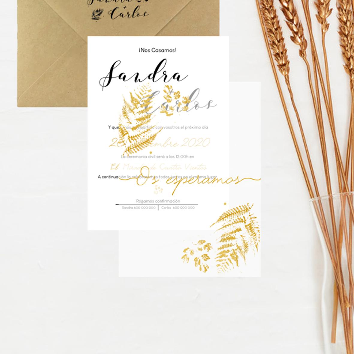 invitación boda oro