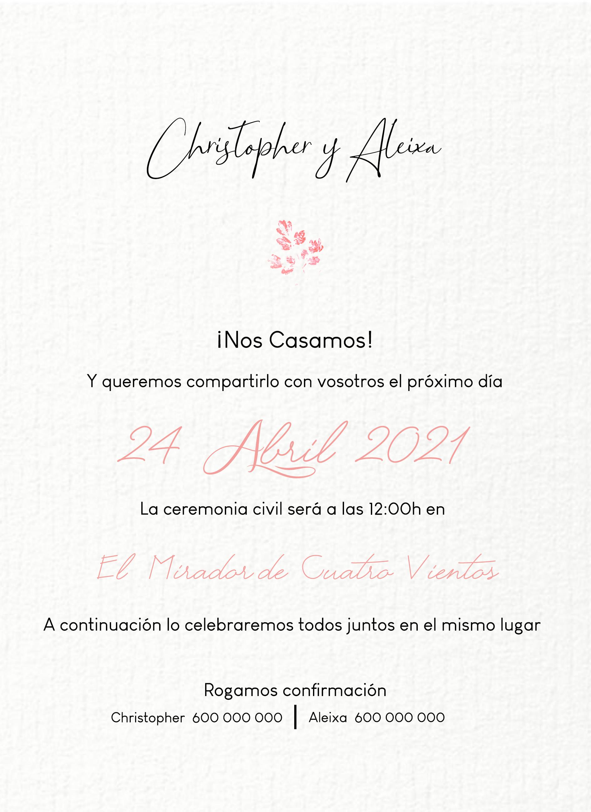invitación boda algodón