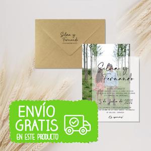 Invitación boda foto+ papel vegetal